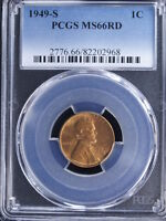 1949-S 1C RD LINCOLN CENT 2 PCGS MINT STATE 66RD
