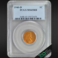 1940-D  1 LINCOLN WHEAT CENT  PCGS MINT STATE 65RB   GEM BU  2688BA2