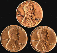 1948 P D S LINCOLN WHEAT CENTS YEAR SET - 3 COINS F/EXTRA FINE  BN CONDITION
