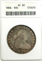 1806  FLOWING HAIR 50C,  ANACS  VF 20 KNOBBED-TOP 6, SM STARS, BRANCH STEM, CLAW