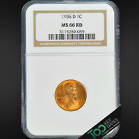 1936-D  1 LINCOLN WHEAT CENT  NGC MINT STATE 66RD   SOLID GEM BU  3115289-059