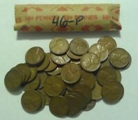 1946-P ROLL OF LINCOLN WHEAT CENT COIN PENNY AVERAGE CIRCULATED SOLID DATE ROLL