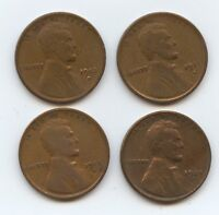 1911, 1912, 1913 & 1924 ALL D MM LINCOLN 1C 9582 ALL VG OR BETTER AND CLEANED