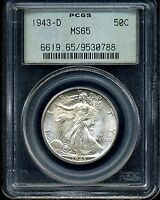 1943-D 50C WALKING LIBERTY HALF DOLLAR MINT STATE 65 PCGS 9530788