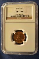 1938S LINCOLN CENT NGC MINT STATE 66 RED