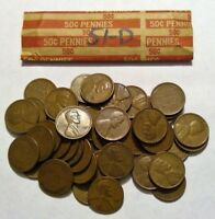 1951-D ROLL OF LINCOLN WHEAT CENT COIN PENNY AVERAGE CIRCULATED SOLID DATE ROLL