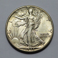 1943-D UNC/MS  WALKING LIBERTY US HALF DOLLAR COIN 90 SILVER, 50C