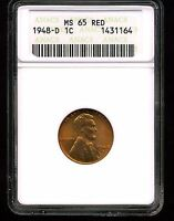 1948-D 1C LINCOLN WHEAT CENT MINT STATE 65 RED ANACS 1431164