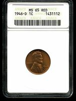 1946-D 1C LINCOLN WHEAT CENT MINT STATE 65 RED ANACS 1431112