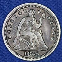 1845 SEATED HALF DIME, REPUNCHED DATE FS-302, AU DETAILS