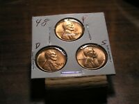 1948 P,D,S LINCOLN WHEAT CENTS BU