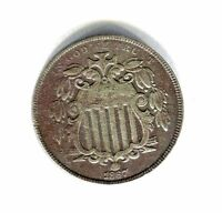 1867 WITH RAYS SHIELD NICKEL 5 CENTS HIGH GRADE