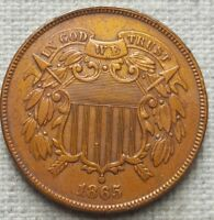 1865 TWO CENT PIECE - EXTRA FINE  - BOLD