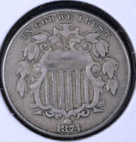 1874 5C SHIELD NICKEL - EF