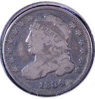 1834 10C CAPPED BUST DIME LARGE 4 - F