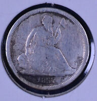 1837 10C SEATED LIBERTY DIME - F CLEANED