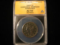 1845 BRAIDED HAIR LARGE CENT ANACS AU 50 DETAILS