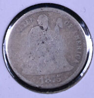 1875-CC 10C SEATED LIBERTY DIME BELOW BOW - AG