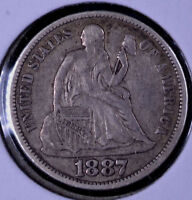 1887 10C SEATED LIBERTY DIME - EF