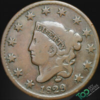 1829  1 LARGE LETTERS CORONET HEAD LARGE CENT  F FINE BROWN  1663EFU1