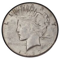 1927-S $1 SILVER PEACE DOLLAR IN AU CONDITION, MOSTLY WHITE, SOME LIGHT TONING