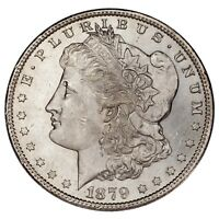 1879-S $1 SILVER MORGAN DOLLAR, CHOICE BU, EXCELLENT EYE APPEAL, MINT LUSTER