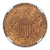 1864 2C SMALL MOTTO TWO CENT PIECE NGC MINT STATE 66RB