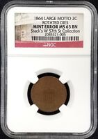 1864 TWO CENT PIECE, LARGE MOTTO, ROTATED DIES, GRADED MINT STATE 63 BN BY NGC