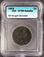 1803 DRAPED BUST, SM DATE, LG FRACTION LARGE CENT, VF 35 DETAILS BY ICG