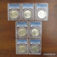 7 PC LOT PEACE SILVER ONE DOLLAR $1 COINS 1922 1924 1925 PCG