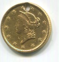 1853 TYPE 1 $1 DOLLAR GOLD LIBERTY HOLED  .900 FINE GOLD