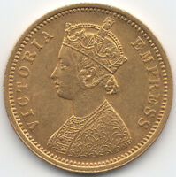 1881 BRITISH INDIA GOLD MOHUR QUEEN VICTORIA MEGA   23 000 M
