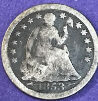 1853 SILVER SEATED LIBERTY HALF DIME GREAT OLD COLLECTIBLE TYPE COIN