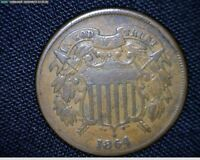 1864 2 CENT PEICE MINT ERROR 180 ROTATED REVERSE 9173