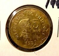 CIRCULATED 1997 5 PISO PHILIPPINE COIN.