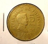 CIRCULATED 2003 5 PISO PHILIPPINE COIN.