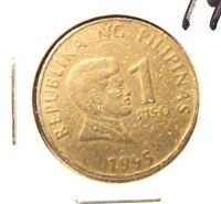 CIRCULATED 1995 1 PISO PHILIPPINE COIN.