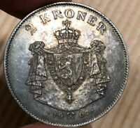 NORWAY 1907 2 KRONER BORDER WATCH FLASHY TONING ON OBVERSE A
