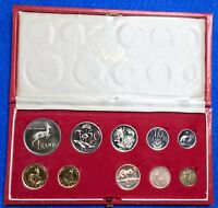 1972 SOUTH AFRICA 10 COIN PROOF SET  PS84   INCL. GOLD 1 & 2 RAND   AG 1 RAND