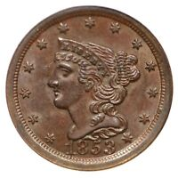 1853 C-1 NGC MINT STATE 65 BN BRAIDED HAIR HALF CENT COIN 1/2C