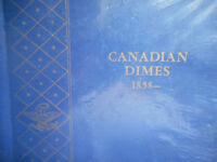 CANADIAN DIMES BOOK O 1858 1960'S..98 COINS INCL 1893 FLAT TOP