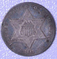 1861 3C SILVER THREE-CENT PIECE - EF