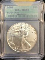 2004 AMERICAN SILVER EAGLE - ICG MS70 - 1 OZ .999 FINE - $1 ONE DOLLAR