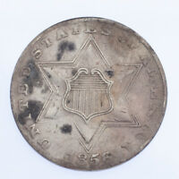 1856 3CS THREE CENT SILVER IN VG CONDITION, FINE IN WEAR, LIGHT HAIRLINES