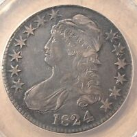 1824 CAPPED BUST HALF DOLLAR OVERTON 110 1824/4 ANACS EXTRA FINE  40 DETAILS