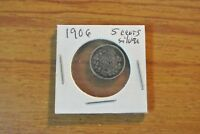 1906 FIVE CENTS SILVER KING EDWARD VII OLD CANADA HALF DIME