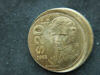 MEXICO  20 PESOS 1985 ERROR COIN BRASS KM508 FEW YEARS PRODUCTION
