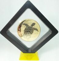 2015 NIUE 1 OZ TURTLE SILVER COIN   24K GOLD GILDED IN 3D DISPLAY