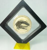 2014 PERTH MINT 1 OZ CROCODIE SILVER COIN   24K GOLD GILDED IN 3D DISPLAY