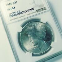 PEACE DOLLAR 1924 NGC MS64 SATIN FINISH LOVELY